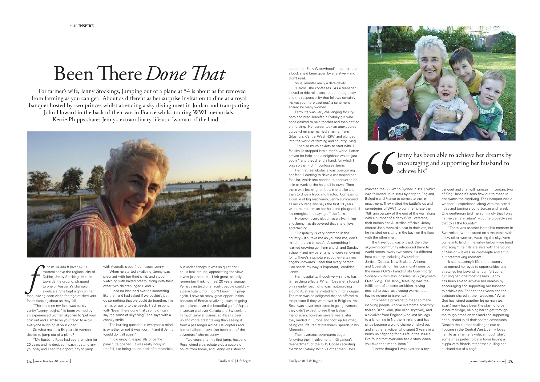 Finally at 40 Life Begins Magazine Article