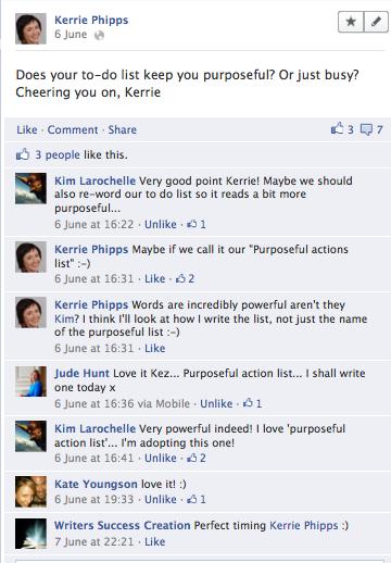 Purposeful Action List conversation on facebook, 6 June 2012
