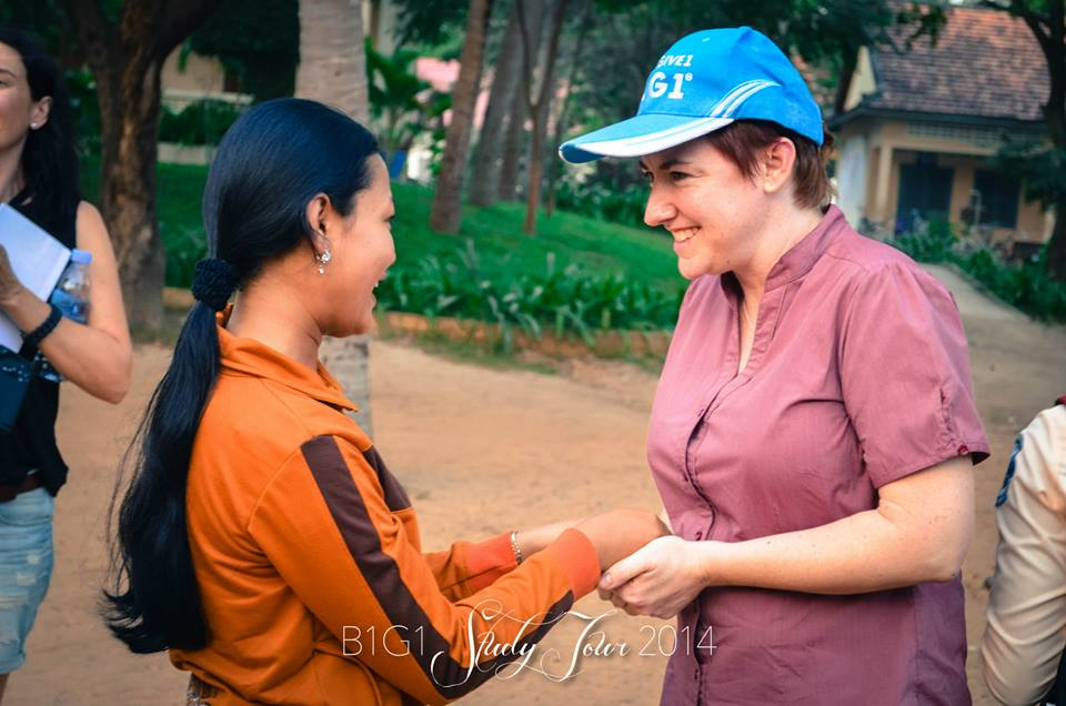Connecting with a beautiful student in Cambodia.