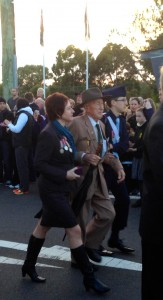 Garnett Tobin marches with Grand-daughter Kerrie Phipps and Great-Grandson Ethan Phipps