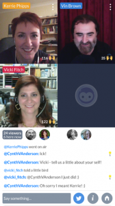 "A screenshot of our ""Blab"" conversation. With guest, new friend, Vicki Fitch, USA"